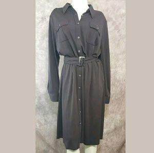 Ralph Lauren Brown Belted Button-up Shirt Dress
